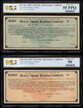 San Francisco, CA- Ocean Shore Railway Company $50; $100 (1907) Remainder Pair PCGS Banknote Choice About Unc 55 PPQ and...