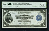 Low Serial Number C9A Fr. 783 $5 1918 Federal Reserve Bank Note PMG Choice Uncirculated 63