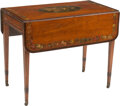 Furniture, An English George III-Style Painted Satinwood Drop-Leaf Table. 28-1/2 x 35 x 20 inches (72.4 x 88.9 x 50.8 cm) (closed). ...