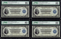 Cut Sheet of Four Fr. 757 $2 1918 Federal Reserve Bank Notes PMG Graded