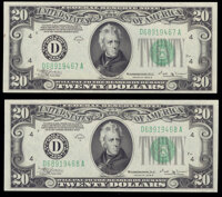 Fr. 2056-D $20 1934B Federal Reserve Notes. Two Consecutive Examples. Crisp Uncirculated. ... (Total: 2 notes)