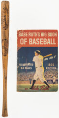 Baseball Collectibles:Publications, 1930s Babe Ruth Book and Miniature Bat. ...