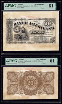 Colombia Banco Americana 20 Pesos 1.1.1883 Pick Unlisted DP5674p1; DP5674p2 Front and Back Proofs PMG Uncirculated 61 (2...