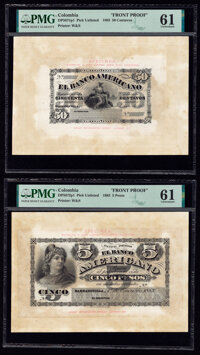 Colombia Banco Americano 50 Centavos; 5 Pesos 1.1.1883 Pick Unlisted DP5671p1; DP5672p1 Two Front Proofs PMG Uncirculate...