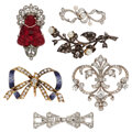 Estate Jewelry:Brooches - Pins, Antique Diamond, Seed Pearl, Glass, Enamel, Platinum, Plat...