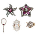 Estate Jewelry:Lots, Diamond, Ruby, Garnet, Platinum-Topped Gold, Silver-Topped Gold, Silver Brooches, Clasps. ... (Total: 5 Items)