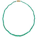Estate Jewelry:Necklaces, Emerald, Gold Necklace Stones: Emerald beads