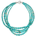 Estate Jewelry:Necklaces, Turquoise, Silver Necklace Stones: Turquoise b...