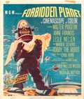 """Movie Posters:Science Fiction, Forbidden Planet (MGM, 1956). Folded, Fine. Trimmed Window Card (14"""" X 22""""), Belgian (14.5"""" X 21.5""""), & Program (4 Pa..."""