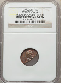 No Date 1C Wheat Reverse, Lincoln Cent -- Struck on a Scrap Planchet -- MS64 Brown NGC. (1.5 g)