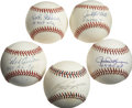 Autographs:Baseballs, Stars/Hall of Famers Single Signed Baseballs Lot of 5. An excellent sampling of star power from baseball stars of the last ...