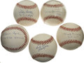 Autographs:Baseballs, Hall of Fame Pitchers Single Signed Baseballs Lot of 5. Themarvelous quintet of clean singles offered here each features t...