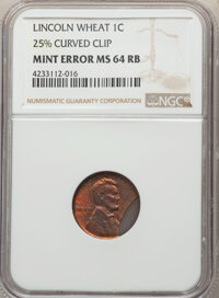 No Date 1C Wheat Reverse, Lincoln Cent -- 25% Curved Clip -- MS64 Red and Brown NGC