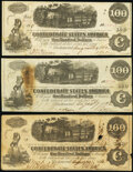 Confederate Notes:1862 Issues, T40 $100 1862 PF-1 (3) Cr. 298; Cr. 300 (2) Very Fine; Fine (2).. ... (Total: 3 notes)