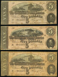 Confederate Notes:1864 Issues, T69 $5 1864 Used for Advertising-Three Examples Very Good-Fine or Better.. ... (Total: 3 notes)