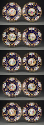 A Set of Ten Czech Sevres-Style Enamel Porcelain Plates, 19th century Marks: Signed to reverse Made in Czechoslovakia, E...
