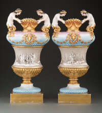 A Pair of French Figural Porcelain Vases 19-1/4 x 8-3/4 x 4-1/2 inches (48.9 x 22.2 x 11.4 cm) (each)