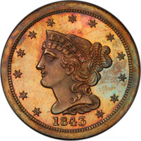 1843 1/2 C First Restrike, B-2, R.6, PR64 Red and Brown PCGS....(PCGS# 1270)