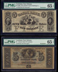 New Orleans, LA- Citizens' Bank of Louisiana $5 18__ G12c Remainder PMG Gem Uncirculated 65 EPQ; New Orleans Canal and B...