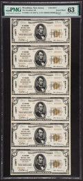 National Bank Notes:New Jersey, Woodbine, NJ - $5 1929 Ty. 2 The Woodbine National Bank Ch. # 12977 Uncut Sheet PMG Choice Uncirculated 63.. ...