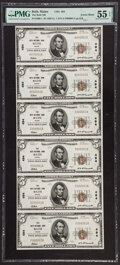 Serial Number 1 Bath, ME - $5 1929 Ty. 1 The Bath National Bank Ch. # 494 Uncut Sheet PMG About Uncirculated 55 EPQ