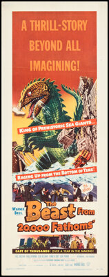 """The Beast from 20,000 Fathoms (Warner Bros., 1953). Folded, Very Fine-. Insert (14"""" X 36""""). Science Fiction..."""