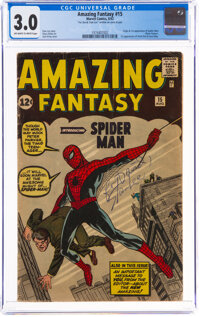 Amazing Fantasy #15 Signed by Stan Lee (Marvel, 1962) CGC GD/VG 3.0 Off-white to white pages