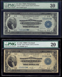 Fr. 715* $1 1918 Federal Reserve Bank Star Note PMG Very Fine 30; Fr. 720* $1 1918 Federal Reserve Bank Star Note PMG Ve...