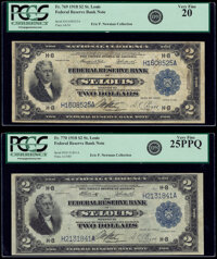 Fr. 769 $2 1918 Federal Reserve Bank Note PCGS Very Fine 20; Fr. 770 $2 1918 Federal Reserve Bank Note PCGS Very Fine 25...