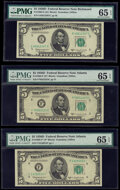 Fr. 1965-E; F; F* $5 1950D Federal Reserve Notes. PMG Gem Uncirculated 65 EPQ. ... (Total: 3 notes)