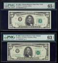 Small Size:Federal Reserve Notes, Fr. 1967-B*; F* $5 1963 Federal Reserve Star Notes. PMG Graded Gem Uncirculated 65 EPQ; Choice Uncirculated 63 EPQ.. ... (Total: 2 notes)