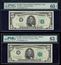 Fr. 1967-B*; F* $5 1963 Federal Reserve Star Notes. PMG Graded Gem Uncirculated 65 EPQ; Choice Uncirculated 63 EPQ...