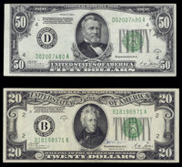 Fr. 2052-B $20 1928B Federal Reserve Note. VF; Fr. 2101-D $50 1928A Federal Reserve Note. VF. ... (Total: 2 notes)