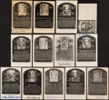 Autographs:Photos, Hall of Famers Signed Plaque Post Cards, Lot of 13 - Carey, Gehringer, Feller!...