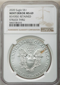 2020 $1 Silver Eagle -- Reverse Retained Struck Thru -- MS69 NGC