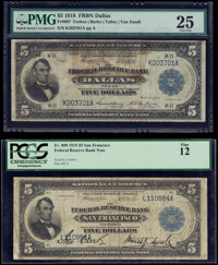 Fr. 807 $5 1918 Federal Reserve Bank Note PMG Very Fine 25; Fr. 808 $5 1915 Federal Reserve Bank Note PCGS Fine 12...