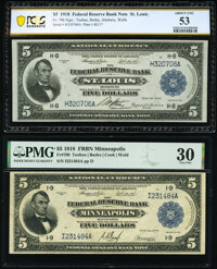 Fr. 796 $5 1918 Federal Reserve Bank Note PCGS Banknote About Unc 53; Fr. 799 $5 1918 Federal Reserve Bank Note PMG Very...