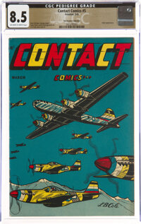 Contact Comics #5 The Promise Collection Pedigree (Aviation Press, 1945) CGC VF+ 8.5 Off-white to white pages