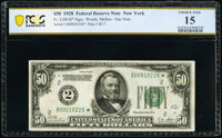 Fr. 2100-B* $50 1928 Federal Reserve Star Note. PCGS Banknote Choice Fine 15