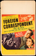 """Movie Posters:Hitchcock, Foreign Correspondent (United Artists, 1940). Fine. Window Card (14"""" X 22""""). Hitchcock.. ..."""