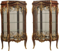 A Pair of French Louis XV-Style Gilt Bronze and Porcelain Mounted Vitrine Cabinets, late 20th century 71 x 42 x 17