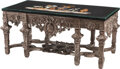 Furniture, A French Regence-Style Silvered Table with Specimen Marble Top. 33 x 72 x 35-1/2 inches (83.8 x 182.9 x 90.2 cm)