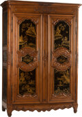Furniture, A French Provincial Armoire with Later Chinoiserie Lacquer...
