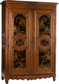 A French Provincial Armoire with Later Chinoiserie Lacquered Panels, 18th century and later 91 x 60 x 24-3/4 inches (231...
