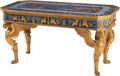Furniture, A French Empire-Style Gilt Bronze Mounted Rectangular Salon Table with Semi-Precious Stone Inlay. 33 x 63 x 31-1/2 inches (8...