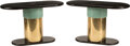 Furniture, A Pair of Art Deco-Style Oval Wood and Metal Consoles