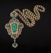 A 14K Gold, Silver, and Emerald Pendant on Chain in the Manner of Fabergé, late 20th century 6-1/2 x 3-1/4 inches...