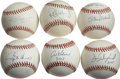 Autographs:Baseballs, 3,000 Hit Club Single Signed Baseballs Lot of 6. Long a surefireticket for admission into Cooperstown's Hall of Fame, entr...