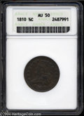 """1810 1/2 C AU50 Brown ANACS. The current Coin Dealer Newsletter (Greysheet) wholesale """"bid"""" price is $600.00..."""