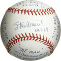 "Autographs:Baseballs, Stan Musial Single Signed Stat Baseball. Stan Musial, known simplyas ""The Man"" among Cardinals supporters and contemporari..."